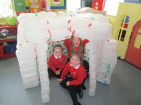 Miss Lynn and P1-P3 make an igloo